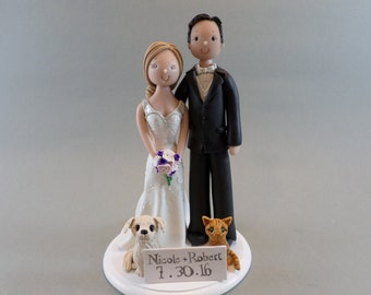 Unique Cake Toppers - Bride & Groom with Pets Personalized Wedding Cake Topper
