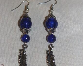 Midnight Blue Boho Earrings. Bohemian Earrings. Intense, Blue Beaded, Earrings. Silver Metal, Feather Charms. Southwestern Flair Earrings.