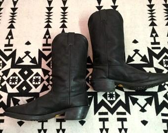 Vintage Cowboy Boots Mens Black Cowboy Boots Leather Cowboy Boots Southwestern Boots Vibram Brand Boots Black Leather Cowboy Boots