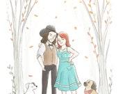 Custom Cartoon Portrait Couple (Simple Style Color) -  Custom anniversary gift, Custom portrait illustration, Custom Valentines day gift