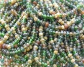 LIMITED 6/0 and 5x3mm Evergreen Picasso Firepolish Czech Glass Bead Mix 6 Strand Hank (DW199)