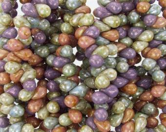 6x4mm Opaque Lumi Luster Color Mix Czech Glass Teardrop Beads - Qty 50 (BS4)