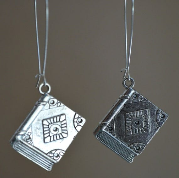 book earrings nanowrimo silver earrings writer earrings