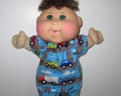 Cabbage Patch, Naptime Babyland Doll Clothes, Beep Beep Cars and Trucks Pajamas Print  Set,  12 13  inch Doll  Boy or Girl Doll