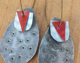 reclaimed tin earrings with polka-dots & red triangles