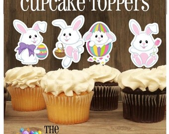 Easter Friends Party - Set of 12 Double Sided Assorted Easter Bunny Cupcake Toppers by The Birthday House