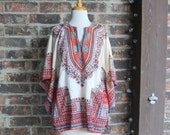1970s Tribal Angel Sleeve Top Tunic Hippie Blouse by Jubiliee Size L Made in Pakistan Dashiki Top