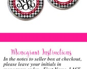 Houndstooth Monogram Earrings, Personalized Monogram Stud Earrings, Monogram Jewelry, Monogram Gift (530)