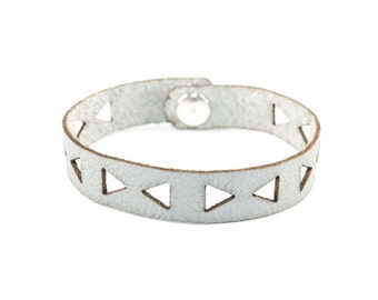 Gray Leather Bracelet - Geometric Triangle Cutouts - Laser Cut Leather (Choose Your Size)