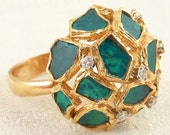 RARE Size 8 18K Gold Georg Jensen & Wendel Designer Raw Emerald and DIamond Domed Mosaic Cocktail Ring