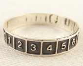 Size 11.25 Vintage Sterling Numbered Band Ring