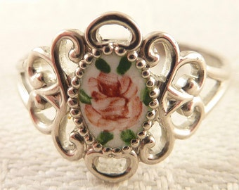 Antique Size7 Open Scrollwork Sterling Painted Enamel Rose Ring