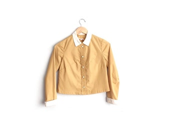 Size XS // MUSTARD CROPPED Button-Up Shirt // Upcycled - Contrast Collar - Long Sleeve Shell Blouse - Vintage '60s.