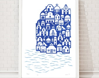 Santorini Limited Edition Screen Print A2 size