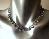Vintage Blue Aurora Borealis Dark Rhinestone Costume Jewelry Necklace Choker