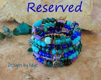 Reserved - Payment - Boho Layered Bracelet, Colorful  Beaded Bracelet, Original Handmade Bohemian Designs by Kaye Kraus