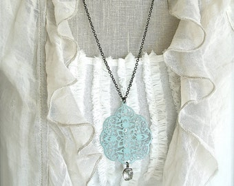 Large shabby chic blue filigree pendant necklace with a vintage glass rhinestone.  Long 27 inch antique brass chain.   Weddings. Bridesmaids