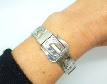 Vintage sterling silver engraved bangle bracelet English Victorian style buckle clasp cuff bracelet Queen Elizabeth Jubilee 1977 Birthday