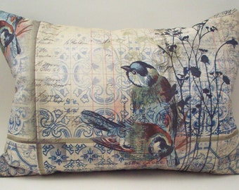 Victorian Style Lavender Buckwheat Pillow - Chickadees and Bird Cage - Decorative Neck Roll Lumbar Throw Pillow - Nursing Support