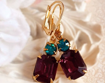 Art Deco Earrings - Best Jewelry Gift - Amethyst Earrings - Bridesmaid Gifts - Victorian Earrings - Dainty Earrings - REGENCY Amethyst