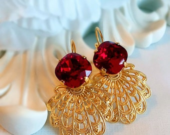 Renaissance Earrings - Red - Gold Jewelry - FLORENTINE Ruby