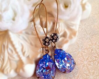 Tanzanite Earrings - Best Bridesmaid Gifts - Lavender Earrings - Swarovski Crystal Earrings - Bridesmaid Earrings - COVET Tanzanite
