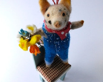 An Original Needle Felted Spotty Pig with Felt Flowers