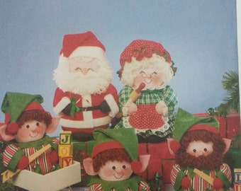 Butterick 5599 Luv N Stuff Santa and Mrs Claus and Elves Pattern and Coffee Can Cover Pattern