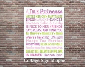Princess Nursery Decor,Personalized Princess Wall Art,Personalized Girls Princess Decor,DIGITAL DOWNLOAD Art,Princess Birthday,Princess
