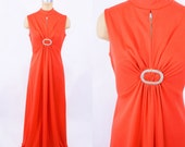 1970s dress vintage 70s red keyhole polyester evening maxi dress M