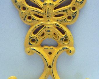 Butterfly Cast Iron Wall Hook Yellow Shabby Chic Nursery Spring Summer Wall Decor