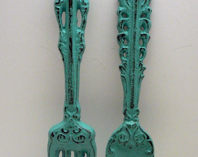 Fork Spoon Set Wall Decor Shabby Chic Aqua Blue Home Decor Wall Art