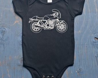 Tough Guy Motorcycle Onesie - Baby Onesie - Baby Bodysuit - Black Baby Romper - Motorcycle Baby - Gift for Baby Boy - Rocker Baby - New Baby