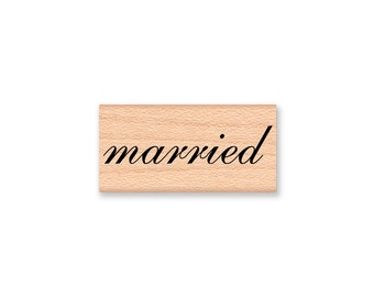 married~Rubber Stamp~Wedding Stamp~Announcement~photo stamp~newly weds~wood mounted stamp by Mountainside Crafts  (35-42)