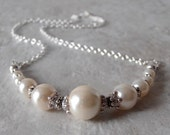 Off White Pearl Necklace Ivory Bridal Jewelry Beaded Necklace Bridesmaid Gift Elegant Pearl Wedding Jewelry 16 18 20 Inch Silver Chain