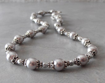 Gray Pearl Necklace, Grey Bridesmaid Jewelry, Beaded Necklace, Vintage Style Wedding Jewelry, Bridesmaid Gift