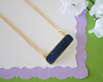 Blue Druzy Necklace Gold, Crystal Necklace, Thin Druzy Pendant, Sideways Druzy, Blue, Gold Druzy, Dark Blue Pendant, Natural Stone, DRZY7