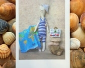 "Set of 3 Greeting cards ""Polar bear is again on holidays!"" -  travel postcard"