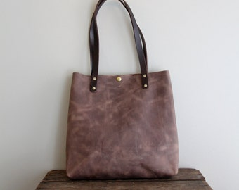 Large Taupe Leather Tote