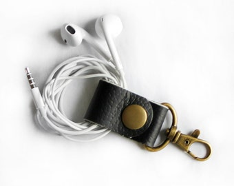 Black Leather Cord Keeper Headphone Wrap Earbud Holder Cord Wrapper with Clip