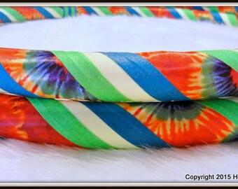 TiE DyEd GLOW in The DARK Hula Hoop 'HaPpY HiPpiE GLoW.'  Custom Travel Hoop. Made YOUR Perfect Size.