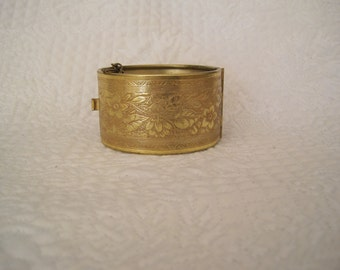 Miriam Haskell Wide Hinged Bracelet Gold Vermeil Etched Flowers RARE