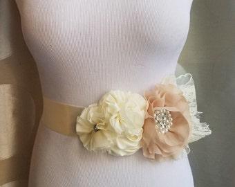 30% Off Sale, Flower Belt, Wedding Sash, Wedding Accessory, Flowergirl belt, Flower Belt, ivory flower belt, champagne flower