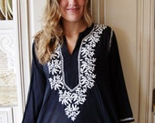 Embroidered Blouse, Black Floral Blouse, Indian tunic, Black + white tunic, Long sleeve blouse, size L
