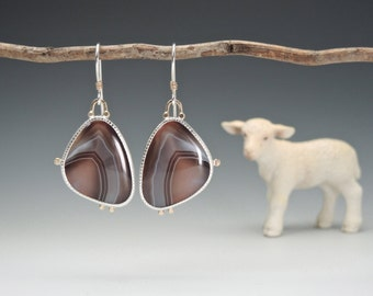 Botswana Agate Earrings, Elegant Agate Earrings, Sterling Silver, 14kt Gold, Mauve, Artisan Made