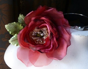 RED Silk Rose in Velvet & Silk Organdy for Bridal,  Millinery, Corsages, MF 101-4772