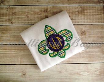 Applique Mardi Gras Fleur de Lis with Monogram Onesie or T-shirt for Boys or Girls
