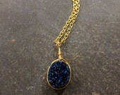 Blue Druzy Necklace - 18K Gold Filled Chain Necklace - Blue Stone Necklace - Indigo Druzy Small Jewelry - Gold and Blue Jewelry Geode