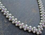 Pearl Necklace- Swarovski Pearl Necklace, Cream Necklace - Classy Necklace- Crystal Necklace