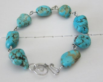 Chunk Turquoise and Sterling Silver Bracelet